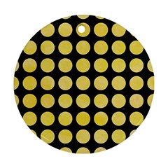 Circles1 Black Marble & Yellow Watercolor (r) Round Ornament (two Sides) by trendistuff