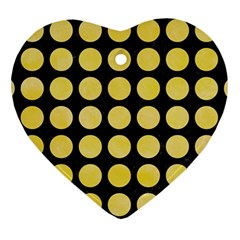 Circles1 Black Marble & Yellow Watercolor (r) Heart Ornament (two Sides) by trendistuff