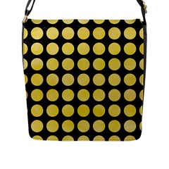 Circles1 Black Marble & Yellow Watercolor (r) Flap Messenger Bag (l)  by trendistuff