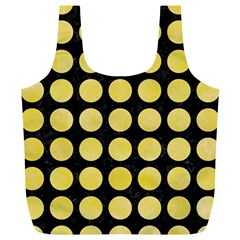 Circles1 Black Marble & Yellow Watercolor (r) Full Print Recycle Bags (l)  by trendistuff