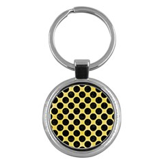 Circles2 Black Marble & Yellow Watercolor Key Chains (round)  by trendistuff