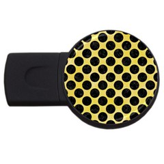 Circles2 Black Marble & Yellow Watercolor Usb Flash Drive Round (2 Gb) by trendistuff