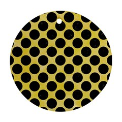 Circles2 Black Marble & Yellow Watercolor Round Ornament (two Sides) by trendistuff