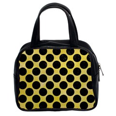 Circles2 Black Marble & Yellow Watercolor Classic Handbags (2 Sides) by trendistuff