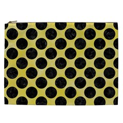 Circles2 Black Marble & Yellow Watercolor Cosmetic Bag (xxl)  by trendistuff