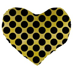 Circles2 Black Marble & Yellow Watercolor Large 19  Premium Heart Shape Cushions by trendistuff