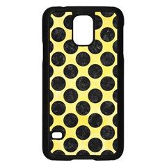 Circles2 Black Marble & Yellow Watercolor Samsung Galaxy S5 Case (black) by trendistuff