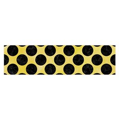 Circles2 Black Marble & Yellow Watercolor Satin Scarf (oblong) by trendistuff
