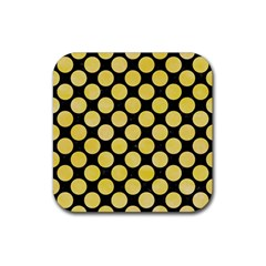 Circles2 Black Marble & Yellow Watercolor (r) Rubber Square Coaster (4 Pack)  by trendistuff