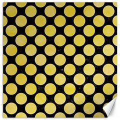 Circles2 Black Marble & Yellow Watercolor (r) Canvas 20  X 20