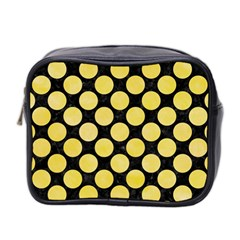 Circles2 Black Marble & Yellow Watercolor (r) Mini Toiletries Bag 2 Side by trendistuff