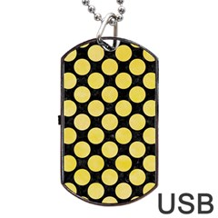 Circles2 Black Marble & Yellow Watercolor (r) Dog Tag Usb Flash (two Sides) by trendistuff