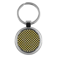 Circles3 Black Marble & Yellow Watercolor Key Chains (round)  by trendistuff