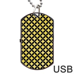 Circles3 Black Marble & Yellow Watercolor Dog Tag Usb Flash (one Side) by trendistuff