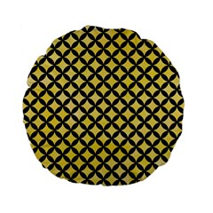 Circles3 Black Marble & Yellow Watercolor Standard 15  Premium Flano Round Cushions by trendistuff