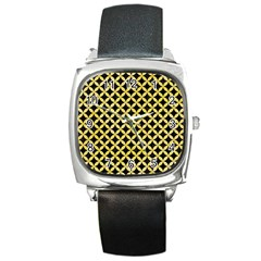 Circles3 Black Marble & Yellow Watercolor (r) Square Metal Watch by trendistuff