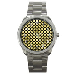 Circles3 Black Marble & Yellow Watercolor (r) Sport Metal Watch by trendistuff