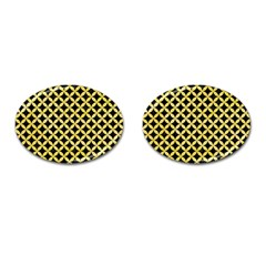 Circles3 Black Marble & Yellow Watercolor (r) Cufflinks (oval) by trendistuff