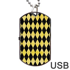 Diamond1 Black Marble & Yellow Watercolor Dog Tag Usb Flash (two Sides) by trendistuff