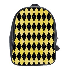 Diamond1 Black Marble & Yellow Watercolor School Bag (xl) by trendistuff
