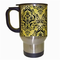 Damask1 Black Marble & Yellow Watercolor Travel Mugs (white) by trendistuff