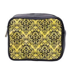 Damask1 Black Marble & Yellow Watercolor Mini Toiletries Bag 2 Side by trendistuff
