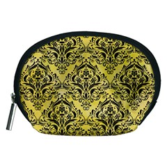 Damask1 Black Marble & Yellow Watercolor Accessory Pouches (medium)  by trendistuff