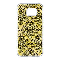 Damask1 Black Marble & Yellow Watercolor Samsung Galaxy S7 Edge White Seamless Case by trendistuff