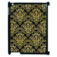 Damask1 Black Marble & Yellow Watercolor (r) Apple Ipad 2 Case (black) by trendistuff
