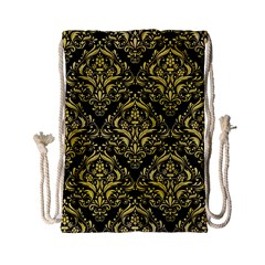 Damask1 Black Marble & Yellow Watercolor (r) Drawstring Bag (small) by trendistuff