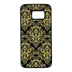 Damask1 Black Marble & Yellow Watercolor (r) Samsung Galaxy S7 Black Seamless Case by trendistuff
