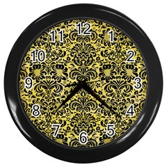 Damask2 Black Marble & Yellow Watercolor Wall Clocks (black) by trendistuff