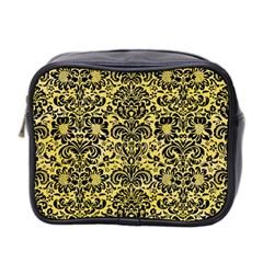 Damask2 Black Marble & Yellow Watercolor Mini Toiletries Bag 2 Side by trendistuff