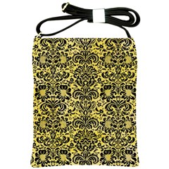 Damask2 Black Marble & Yellow Watercolor Shoulder Sling Bags by trendistuff