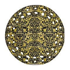 Damask2 Black Marble & Yellow Watercolor Ornament (round Filigree) by trendistuff