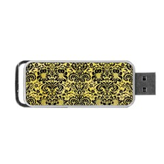 Damask2 Black Marble & Yellow Watercolor Portable Usb Flash (two Sides)