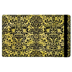 Damask2 Black Marble & Yellow Watercolor Apple Ipad 2 Flip Case by trendistuff