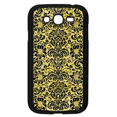 Damask2 Black Marble & Yellow Watercolor Samsung Galaxy Grand Duos I9082 Case (black) by trendistuff