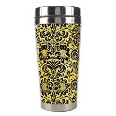 Damask2 Black Marble & Yellow Watercolor Stainless Steel Travel Tumblers by trendistuff
