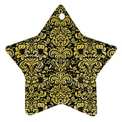 Damask2 Black Marble & Yellow Watercolor (r) Star Ornament (two Sides) by trendistuff