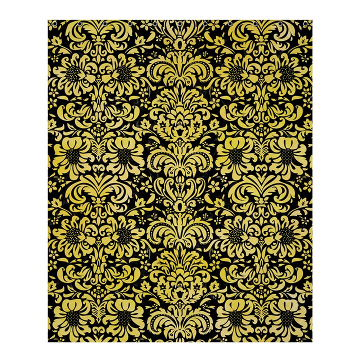 DAMASK2 BLACK MARBLE & YELLOW WATERCOLOR (R) Shower Curtain 60  x 72  (Medium)
