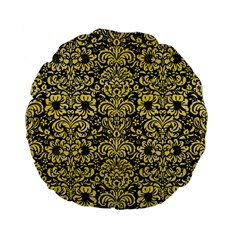 Damask2 Black Marble & Yellow Watercolor (r) Standard 15  Premium Flano Round Cushions by trendistuff