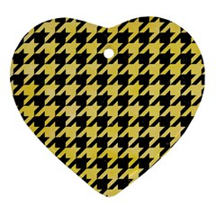 Houndstooth1 Black Marble & Yellow Watercolor Heart Ornament (two Sides) by trendistuff