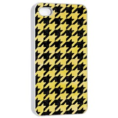 Houndstooth1 Black Marble & Yellow Watercolor Apple Iphone 4/4s Seamless Case (white) by trendistuff