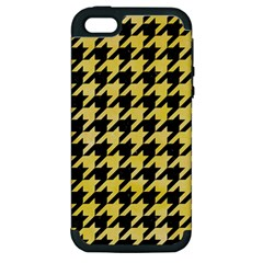Houndstooth1 Black Marble & Yellow Watercolor Apple Iphone 5 Hardshell Case (pc+silicone) by trendistuff