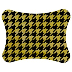 Houndstooth1 Black Marble & Yellow Watercolor Jigsaw Puzzle Photo Stand (bow) by trendistuff