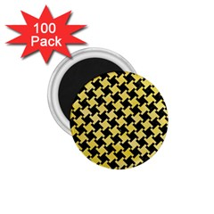 Houndstooth2 Black Marble & Yellow Watercolor 1 75  Magnets (100 Pack)  by trendistuff