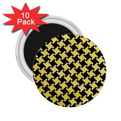 Houndstooth2 Black Marble & Yellow Watercolor 2 25  Magnets (10 Pack)  by trendistuff