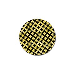 Houndstooth2 Black Marble & Yellow Watercolor Golf Ball Marker (10 Pack) by trendistuff