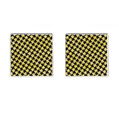 Houndstooth2 Black Marble & Yellow Watercolor Cufflinks (square) by trendistuff